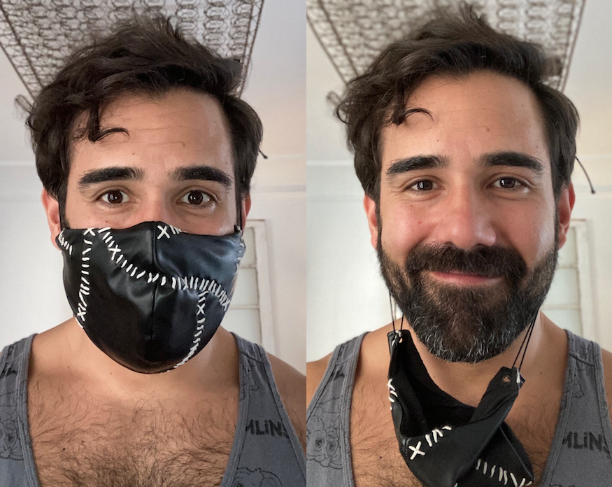 double headshot of Brian Otano, playwright, one with face mask, one without
