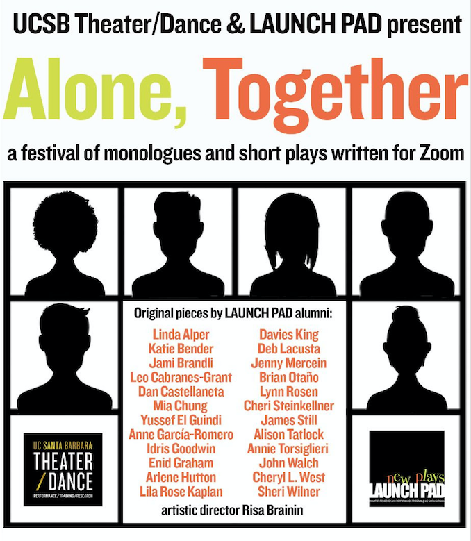 flyer for the Alone, Together zoom festival of plays and monologues
