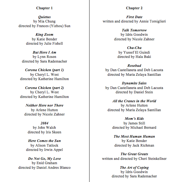 list of plays from Chapters 1 and 2; Alone, Together Zoom Festival