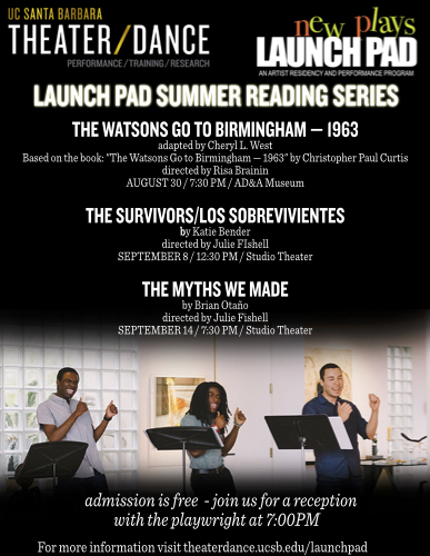 Launch Pad Summer Reading Series flyer featuring a photo from We Want The Funk. Flyer details below.